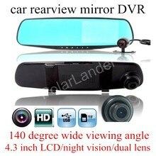 hot car camera rearview mirror DVR dual lens dash cam recorder video registrator camcorder HD night vision with a rear camera