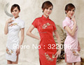 Shanghai Story new sale Qipao peony embroidery chinese wedding dress cotton traditional Chinese Style Dress 3 color JY020