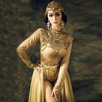 2017 Сексуальная певица прогулки Шоу dj со шлейфом египетского одежда в индийском стиле Baotou современного исполнения платье женщина этап танце