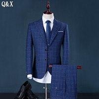 MS52 3 Pieces Suit Jackets+Pants 2017 Fashion Man Suit Slim Blue Plaid One Single Button Weeding Groom Suits Homme Tuxedo