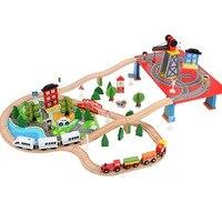 Электрическая деревянная железная дорога набор игрушка для обучения подарки для детей