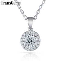 TransGems Solid 10K White Gold 1 Carat Center 6.5mm F Color Moissanite Halo Pendant for Women Gift Slide Pendant with Moissanite