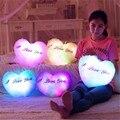 Corazón colorido luminoso puede play música almohada luz led cojín almohada decorativa de la felpa juguetes de los niños