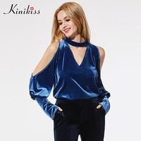 Kinikiss Women Blue Velvet Shirts Tops V Neck Chocker Off Shoulder Long Puff Sleeve Tops Ladies