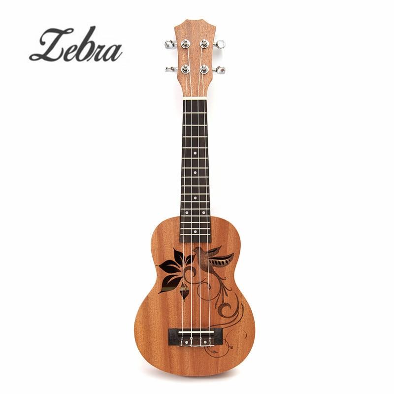 Zebra 21 Inch Soprano Sapele Mini Ukulele Uke 15 Frets 4 Strings Bird Flower Pattern Guitar For Musical Instruments Lover Gift все цены