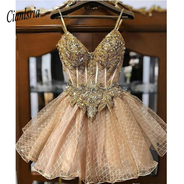 2020 Champagne Beaded Crystals Homecoming Dresses Spaghetti A Line Lace Graduation Dress Short Sexy Cocktail Party Gowns