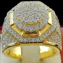 New Wide Hip Hop Micro Pave Rhinestone Bling Gold Color Ring Round Big Crystal Rock Rings for Men Jewelry