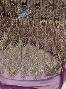 Image 1 - Na sprzedaż afrykańska francuska koronka siatkowa tkanina JIANXI.C 11867 dla sukienka na imprezę z klejonego brokat cekiny koronki tkaniny