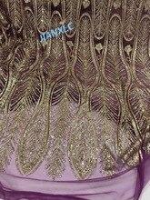 Satılık afrika fransız tarzı dantel Kumaş JIANXI.C 11867 ile parti elbise için yapıştırılmış glitter sequins dantel kumaş