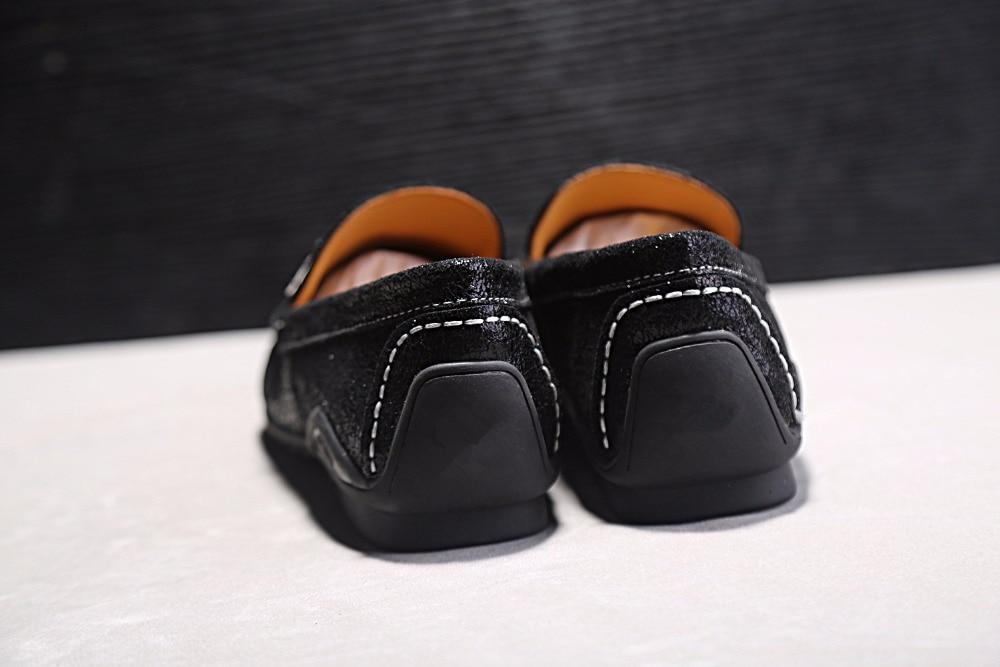Hitam Kulit Asli Pria Sepatu Kasual Slip Pada Lembut Karet Heel - Sepatu Pria - Foto 5