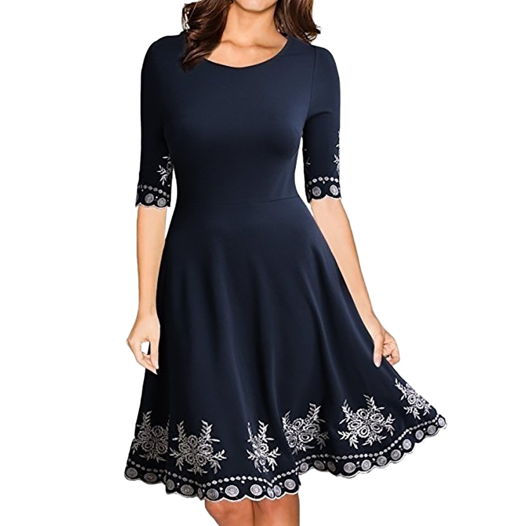 FeiTong Plus Size Women Dress Fashion Half Sleeve O-neck Print Casual Loose Elegant Slim S-5XL  Party Dresses Feminino