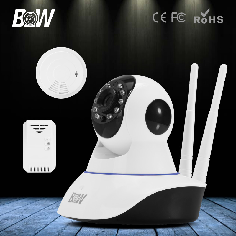 BW HD 720P Wifi IP Camera Wireless P2P + Smoke & Gas Detector Security Surveillance CCTV Lens 3.6mm P/T Automatic Alarm System bw p2p cctv ip camera wifi wireless hd 720p onvif rotatable surveillance security camera cctv automatic sensor detector alarm