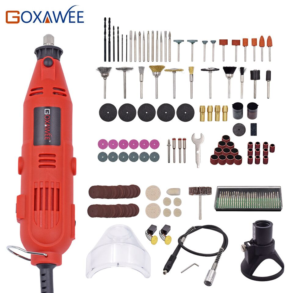 GOXAWEE 220V 130W Electric Variable Speed Rotary Tool Mini Drill with Flexible Shaft 175PCS Accessories Power Tools for Dremel goxawee 240w mini electric drill for dremel style power rotary tool die grinder with flexible shaft abrasive tool drill electric