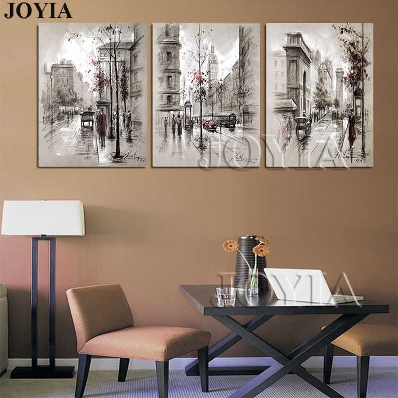 Home Decor Canvas Wall Art Vintage City Street Landscape Paintings For  Living Room Wall 3 Piece Retro Paris Picture Set No Frame In Painting U0026  Calligraphy ...