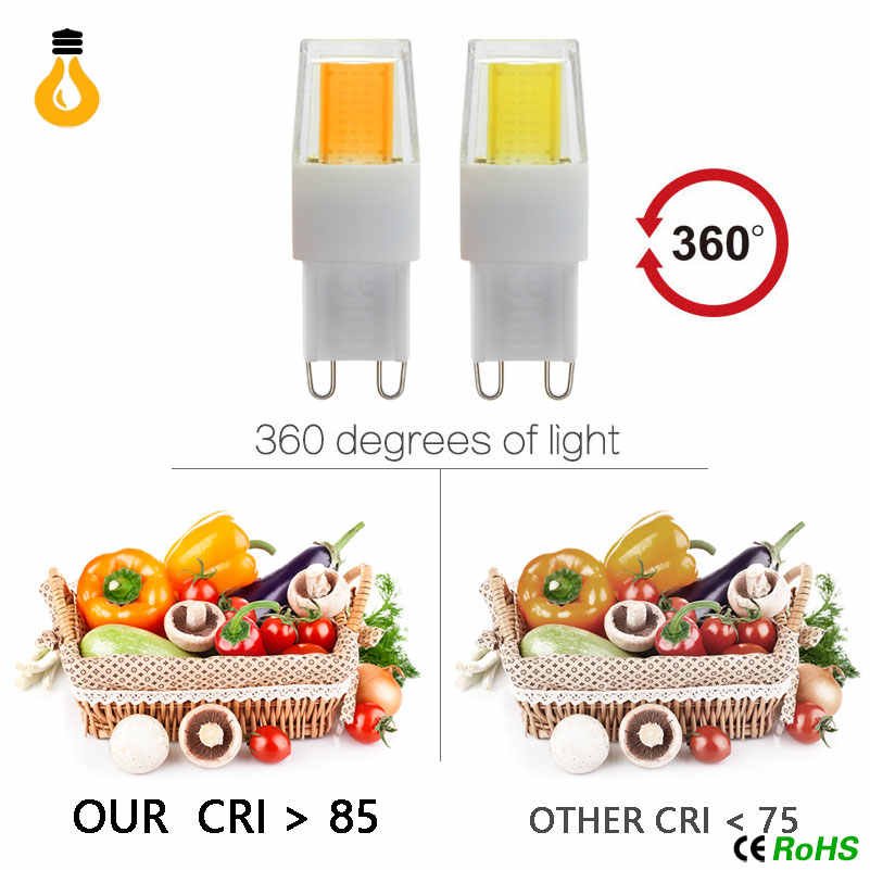 Mini G9 LED Lamp COB LED Bulb 3W 5W 7W 9W 12W 220V LED G9 COB Light Dimmable 360 Beam Angle Chandelier Lights Replace Halogen