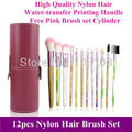 Free shipping! 2013 New Pro 12pcs pink nylon hair makeup Brushes sets kit With Free PU Canister cylinder, dropshipping!