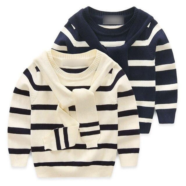 Новый 2016 Девушки Свитера Дети пуловеры темно-полосатый свитер Мальчики девочки Осень и зима одежды Дети пальто для 1-5 Возрастов