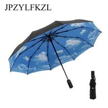 10K Double-deck Automatic Folding Umbrella Anti-UV Large Windproof umbrella rain women Three Corporationparasol