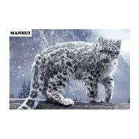 New mosaic full diamond painting embroidered diamond cross stitch animal square diamonds white leopard BAS201