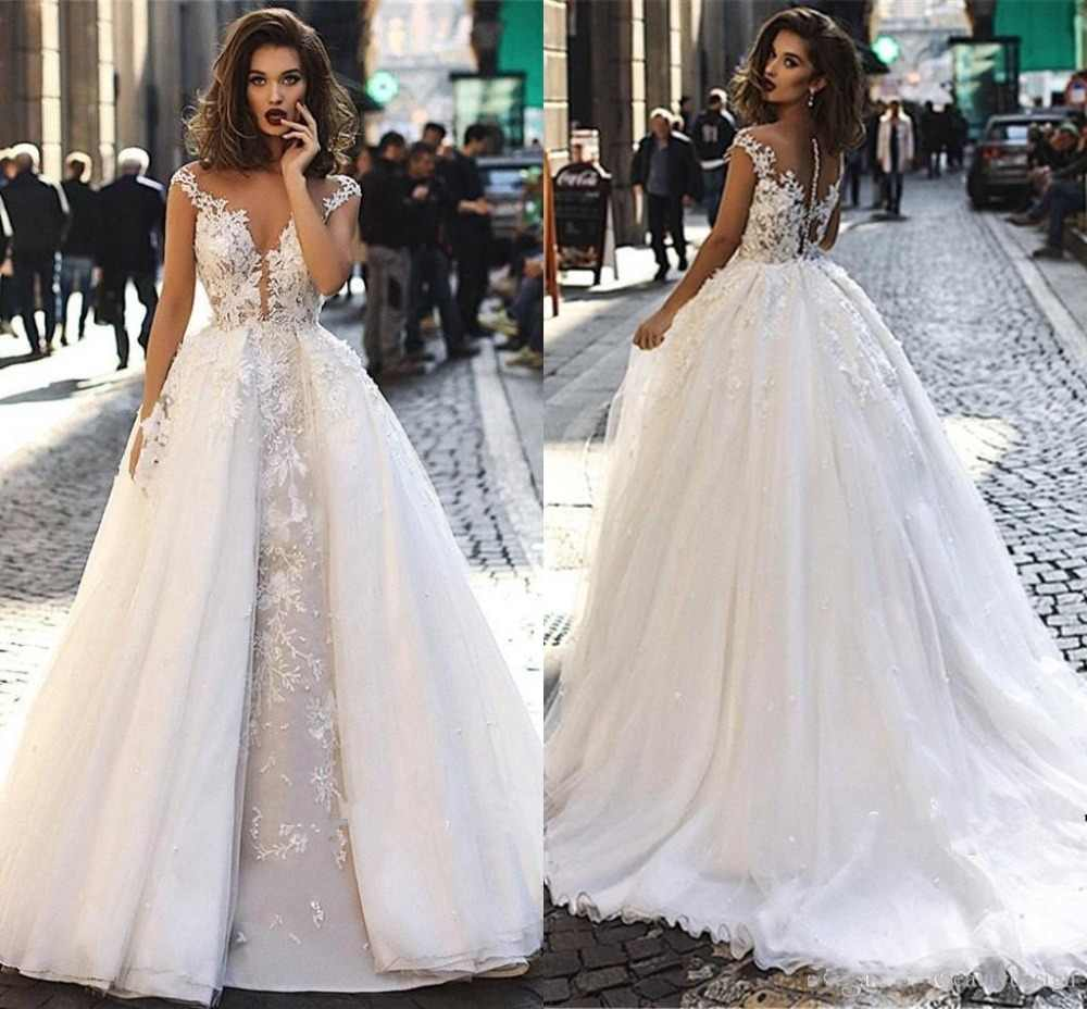 2019 Vintage Cap Sleeves Lace Long Wedding Dresses A Line Tulle Lace Applique Sheer Back Bridal Gowns with Detachable Overskirts