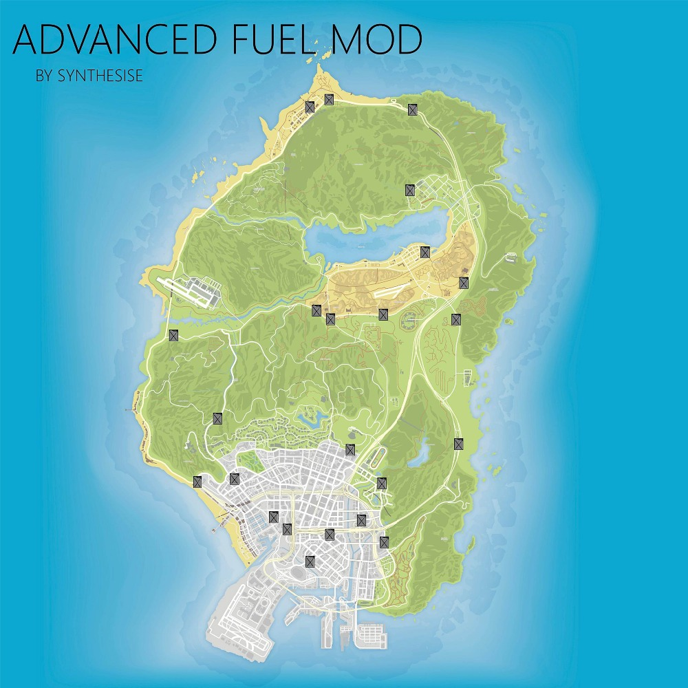 GTA 5 ADVANCED FUEL MOD posters on the wall HD topographic map Grand Theft Auto V Strategic secret Gas station map