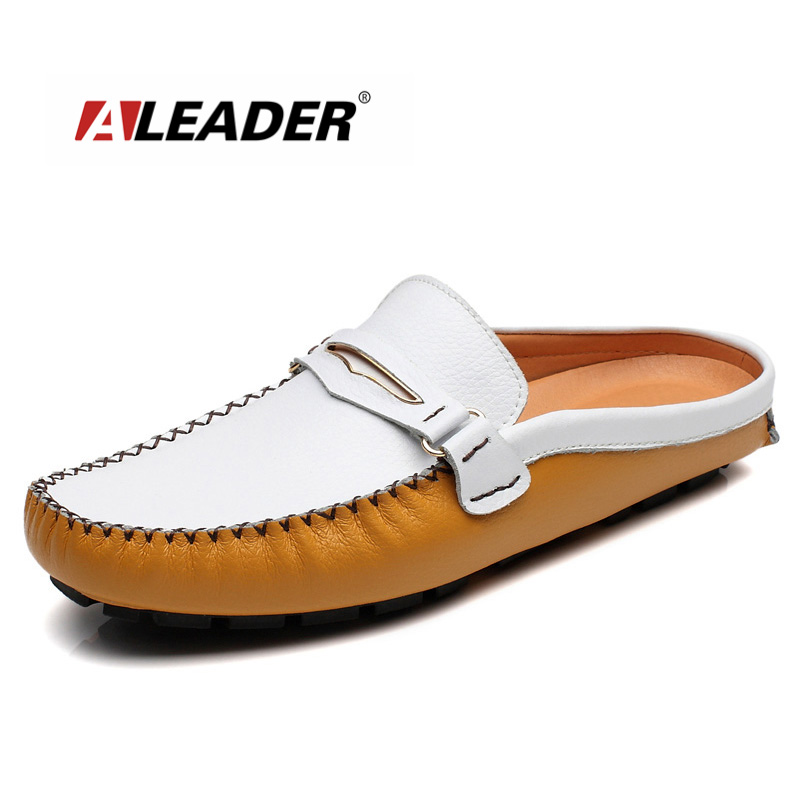 ALEADER New 2017 Summer Fashion Genuine Leather Loafers Casual Men Shoes Slip-on Walking Shoes Lazy Flat Shoes Driving Mocassins branded men s leisure casual genuine leather penny loafers shoes slip on boat shoes moccasin flat shoes men s driving shoes new