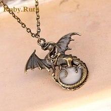Punk Luminous Dragon Pendants & Necklaces DARK dragon amulet Sweater Chain Gift  2017