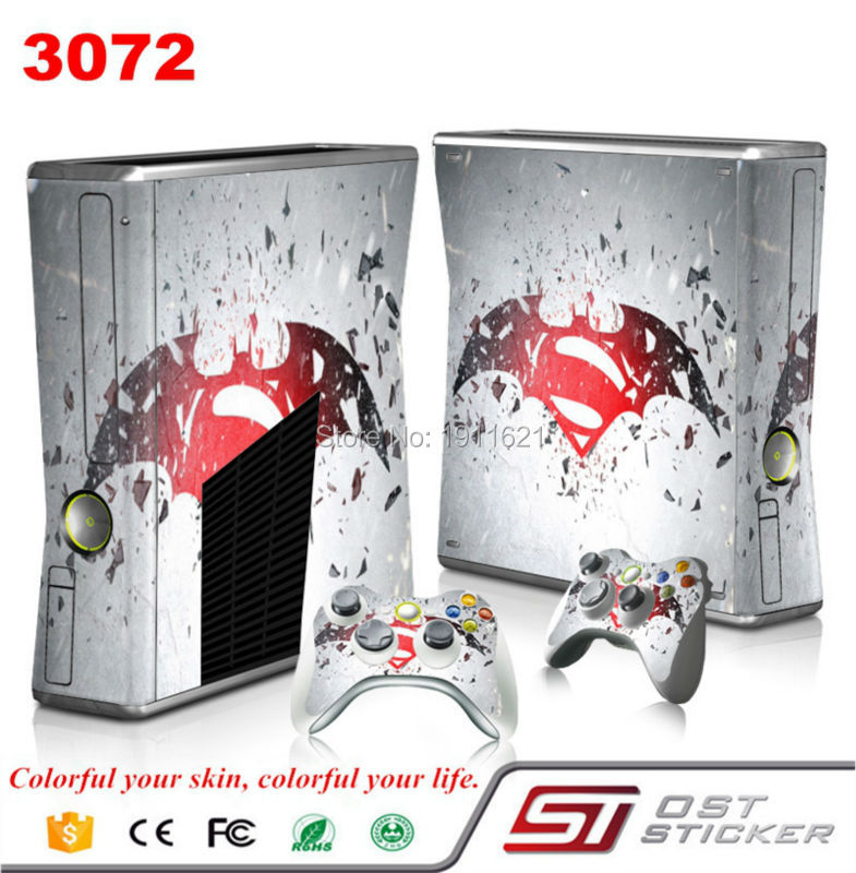 Vinyl for Microsoft Xbox 360 slim games console sticker cover and 2pcs controller
