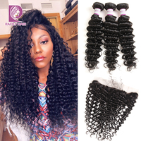 Racily Hair Lace Frontal Closure With Bundles Brazilian Deep Wave Bundles With Frontal Remy Human Hair Weave Bundle With Frontal