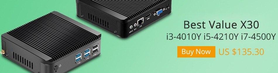 Windows 10 Mini PC Core i5 4210Y Dual Cores 1.90GHz 4GB DDR3 RAM 320G SSD Fanless Mini Computer HDMI VGA 6 USB WiFi HTPC Laptops