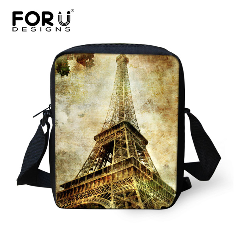 FORUDESIGNS Fashion Paris Eiffel Tower Print Women Ladies Handbag Cross Body Shoulder Bags Girls Messenger Bags Free Shipping