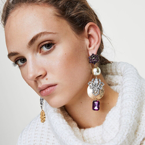 FASHIONSNOOPS Special Design Luxury Bohemian Wedding Simulated Pearls Earring Women Fashion Dangle Jewelry Shiny Drop Earrings(China)