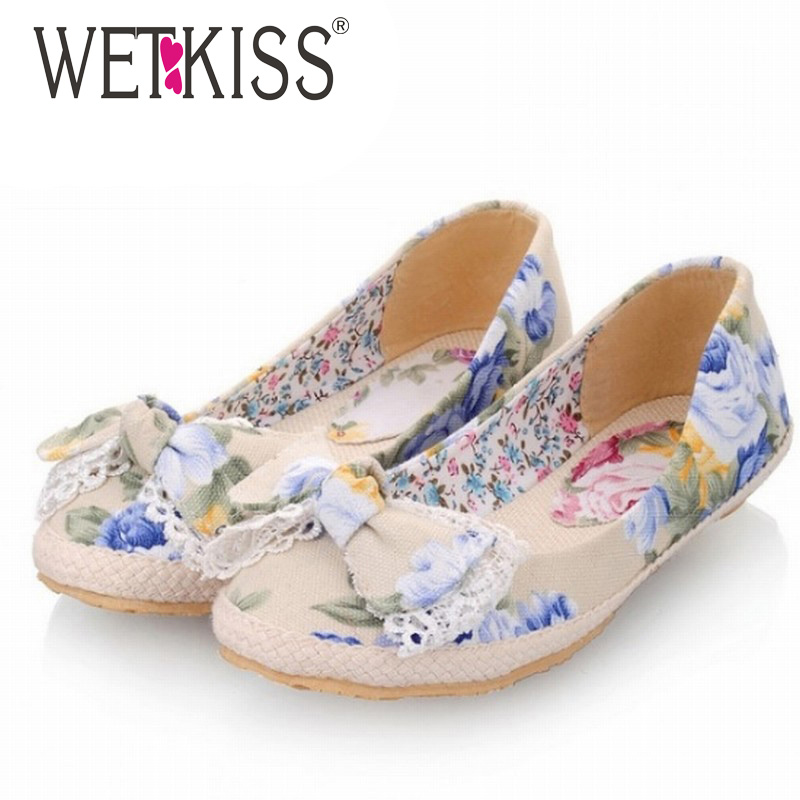 WETKISS Big Size 34-43 Flower Print Canvas Flats Fashion Sweet Bow Shoes For Women Casual Dress Spring Summer Flats Boat Shoes plus size 34 41 black khaki lace bow flats shoes for womens ds219 fashion round toe bowtie sweet spring summer fall flats shoes