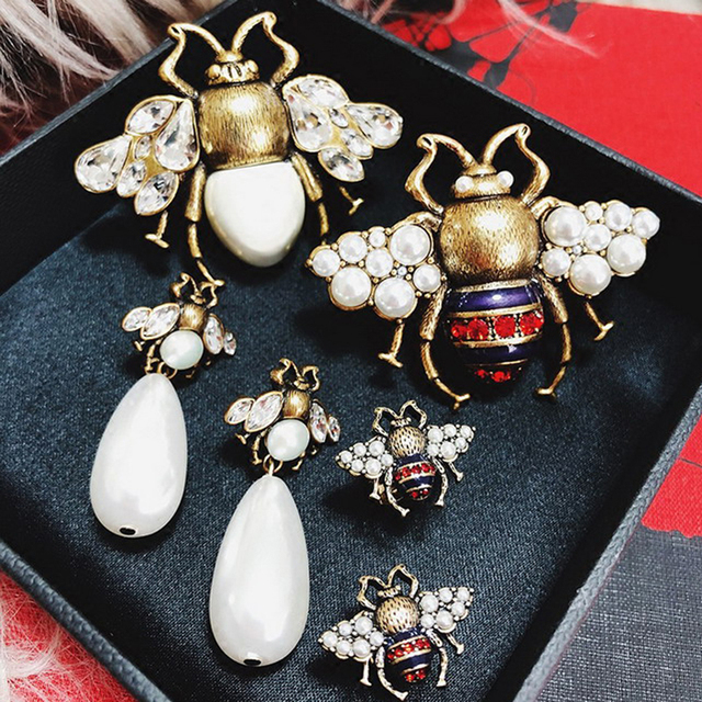 a5f36203717 2styles Vintage Simulated Pearl Bee Earring Cute Rhinestone Bee Insect  Elegant Drop Earring For Women Girls Party Gifts-in Drop Earrings from  Jewelry ...