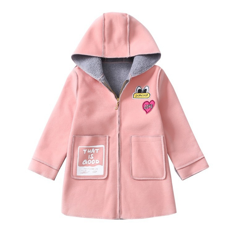 Girl winter new warm jacket Girl fashion hooded wool coat Girl long solid color cold coat Girl cartoon pattern casual coat 2016korean new women winter coat super warm down jacket elegant solid color thick hooded casual large size slim women coat g0315