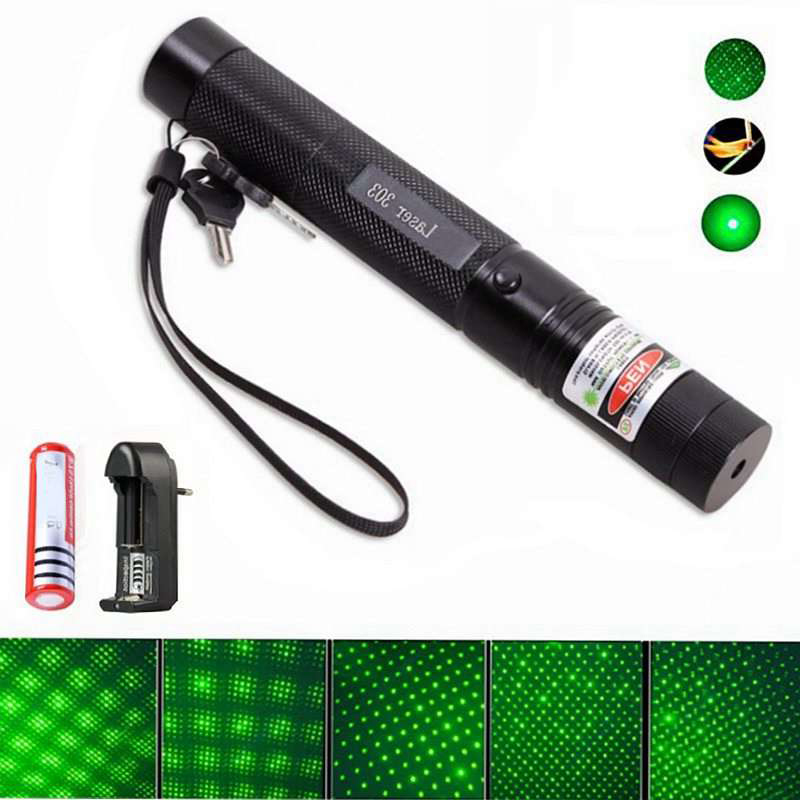 Green Laser Red Blue Pointer Sight Powerful Device Adjustable Focus Lazer Laser 303 Burning Match W/ Rechargeable 18650 Battery