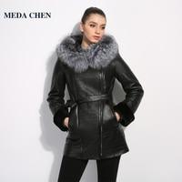 Куртка женская зима Неподдельная кожа женщины Кожаная одежда Хорошее качество шубы пальто овчины пальто лиса меховой воротник
