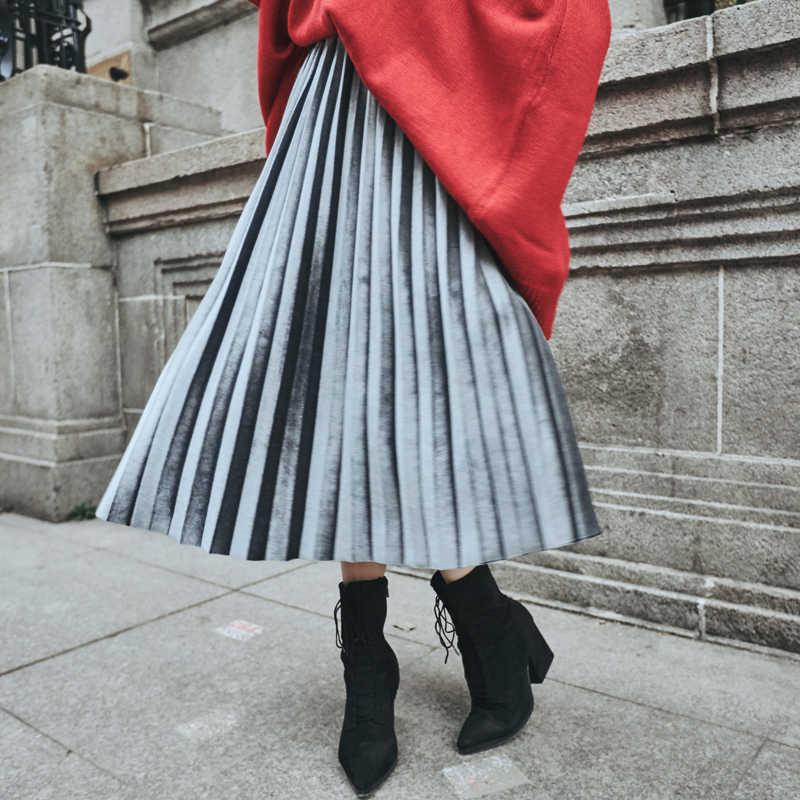 e709ac940 Vintage Women Skirt High Waist In Long Pleuche Velvet Pleated Skirts Army  Brown Gray Pink Black