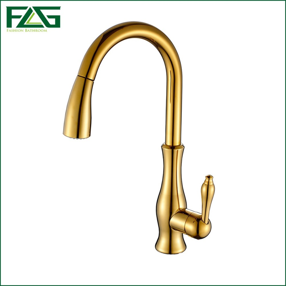 FLG Free Shipping Pull out Spray Gold Kitchen Faucet Hot And Cold Vegetables Basin Rotating Taps All Copper Water Mixer C003G gilt copper full pull out kitchen faucet hot and cold vegetables basin sink pull retractable rotary dynamic dual