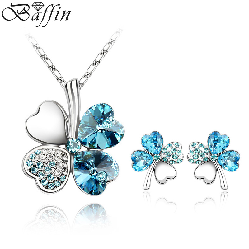 Classic Crystals From Swarovski Clover Jewelry Sets For Women Girls Pendant Necklace Piercing Earrings Party Gifts Lucky Joyas Classic Crystals From Swarovski Clover Jewelry Sets For Women Girls Pendant Necklace Piercing Earrings Party Gifts Lucky Joyas
