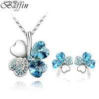 Classic Crystals From SWAROVSKI Clover Jewelry Sets For Girls Pendant Necklace Piercing Earrings Women Party Gifts