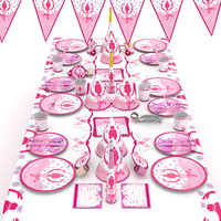 Creative Ballet Princess Theme Set Birthday Party Decoration Cartoon Tableware Set for Kids Pink