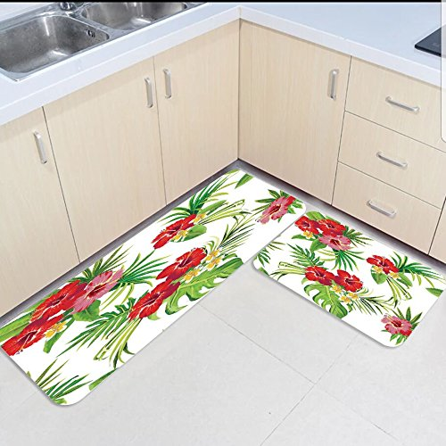 2 piece kitchen mats and rugs set blossoms red flower art