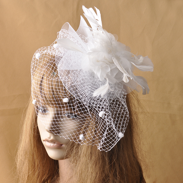 European White Wedding Veil Fascinator Hat Fashion Women Royal Party Horse  Race Flower Feather Fascinator Hair Clip Headdress 6c6531f1d3e