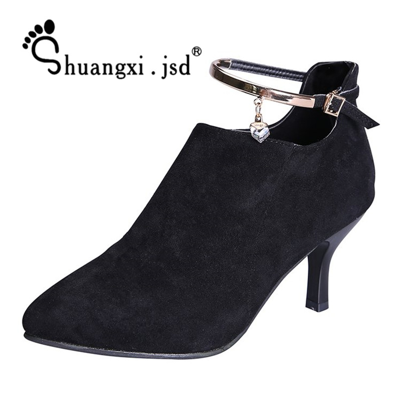 big size fashion scarpe donna tacco alto sexy flock ankle wrap zapatos mujer chaussure femme women high heel women shoes sandals Women Shoes New 2017 Fashion Suede Sexy High-heeled Women Boots Normal Size 35-39 High 5CM Zapatos Mujer Chaussure Femme