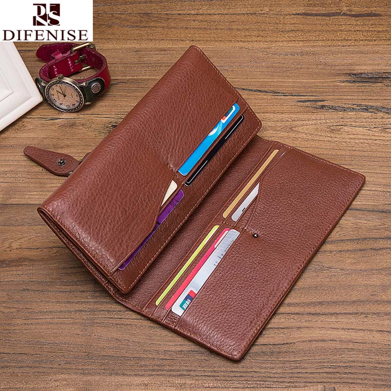 100 genuine leather long hasp wallets men compact wallet