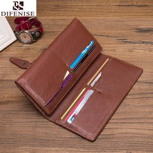 100% Genuine Leather Long Hasp Wallets men Compact wallet Handmade wallet Cowhide Card Holder Vintage Design purse New