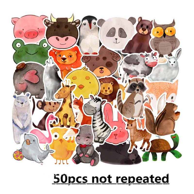 Premium New 50Pcs Colorful Animals Sticker Cute Watercolor Cartoon Anime Decal Stickers for DIY Laptop Luggage Skate in Stickers from Toys Hobbies