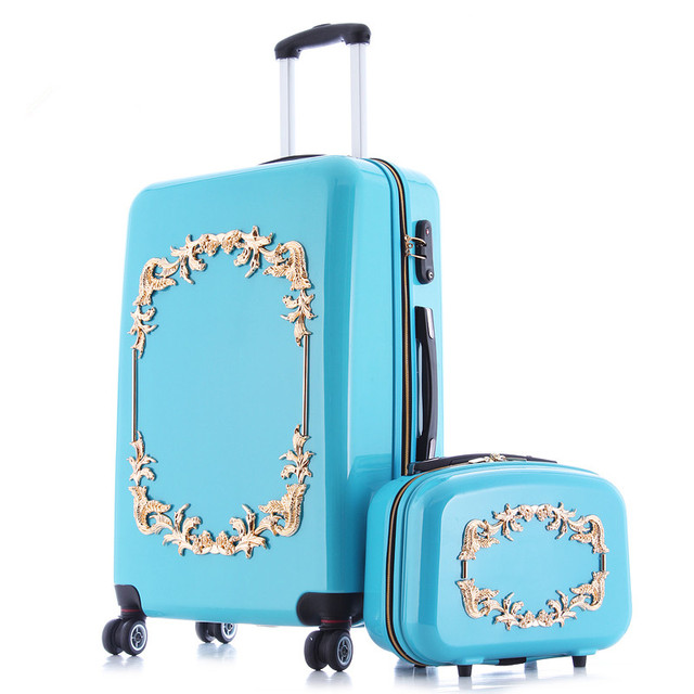 KUNDUI luggage valiz suitcase bags women travel bag BOX,ABS+PC A set of trolley case,new style, traveling ,lock, mute,12 22 24