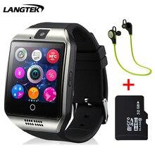 Langtek smartwatch bluetooth smart watch q18 soporte nfc tarjeta sim gsm cámara soporte android/ios móvil pk gt08 dz09 u8